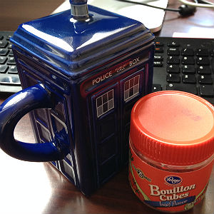 bouillon cubes and coffee mug